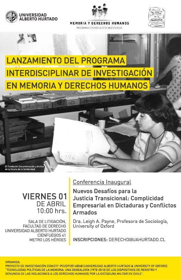 Lanzamiento del Programa Interdisciplinar de Investigación en Memoria y Derechos Humanos