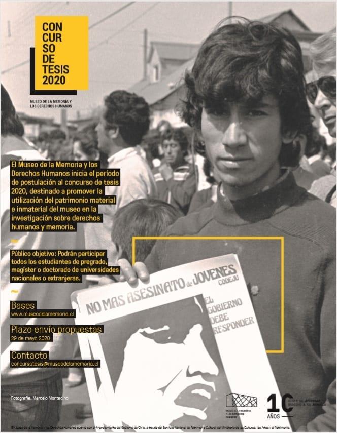 Museo de la Memoria y los Derechos Humanos abre convocatoria a Concurso de Tesis 2020