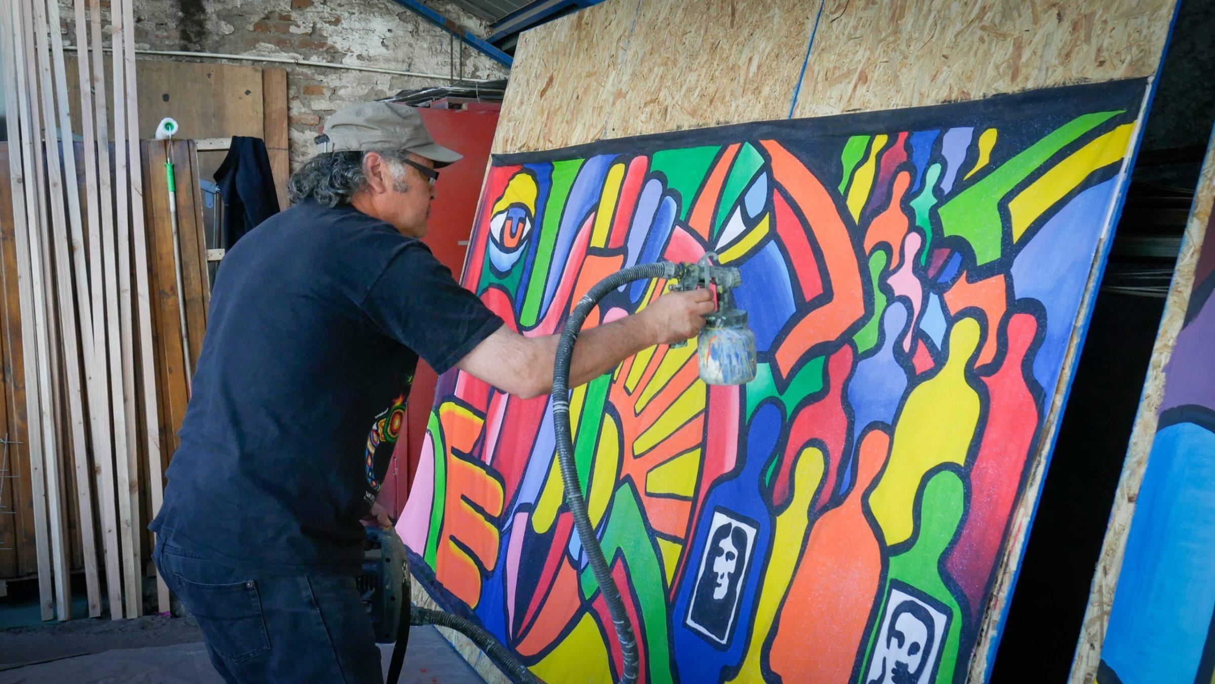 """Taller Mural """"Perderle el Miedo a Todxs y a lxs Que Son Diferentes"""" Festival Arte y Memoria Víctor Jara 2019"""