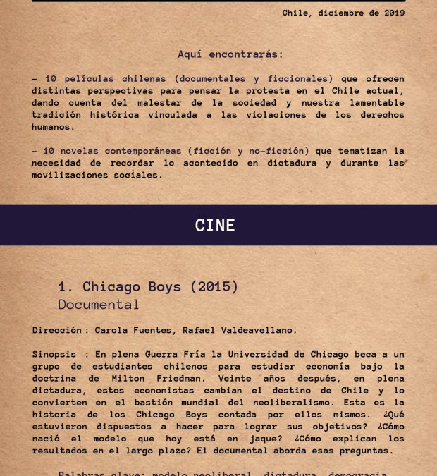 Cartilla N°5 – Películas y novelas chilenas para informarse y acompañar la reflexión, la autoeducación y el debate social